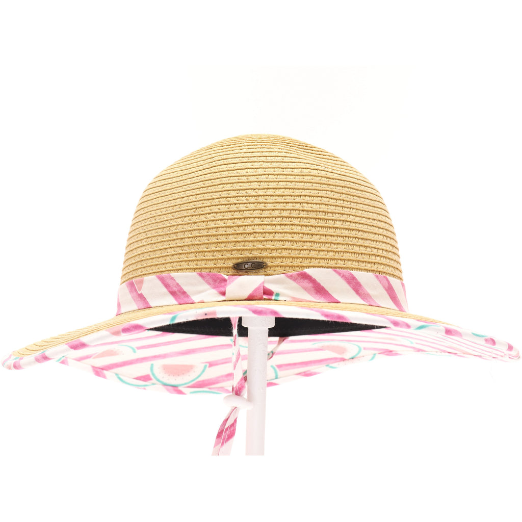 Kids Straw Brim Hat w/Watermelon Print KIDS2003