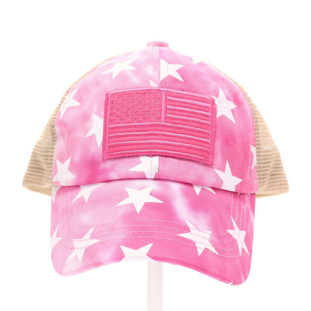 Kids Tie Dye Star Print with USA Flag Patch Criss Cross High Pony CC Ball Cap KIDSBT933