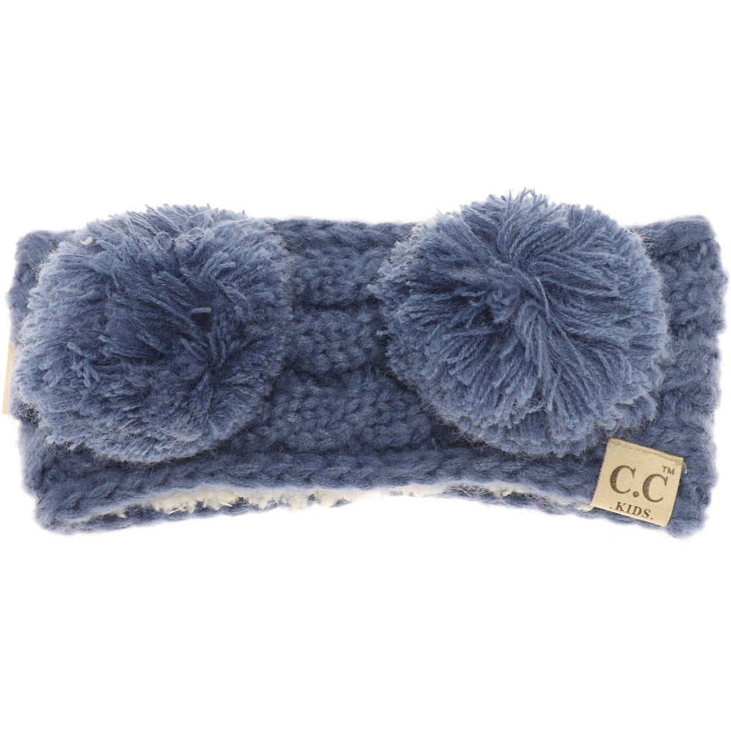 KIDS Solid Double Pom Head Wrap HW24KIDS
