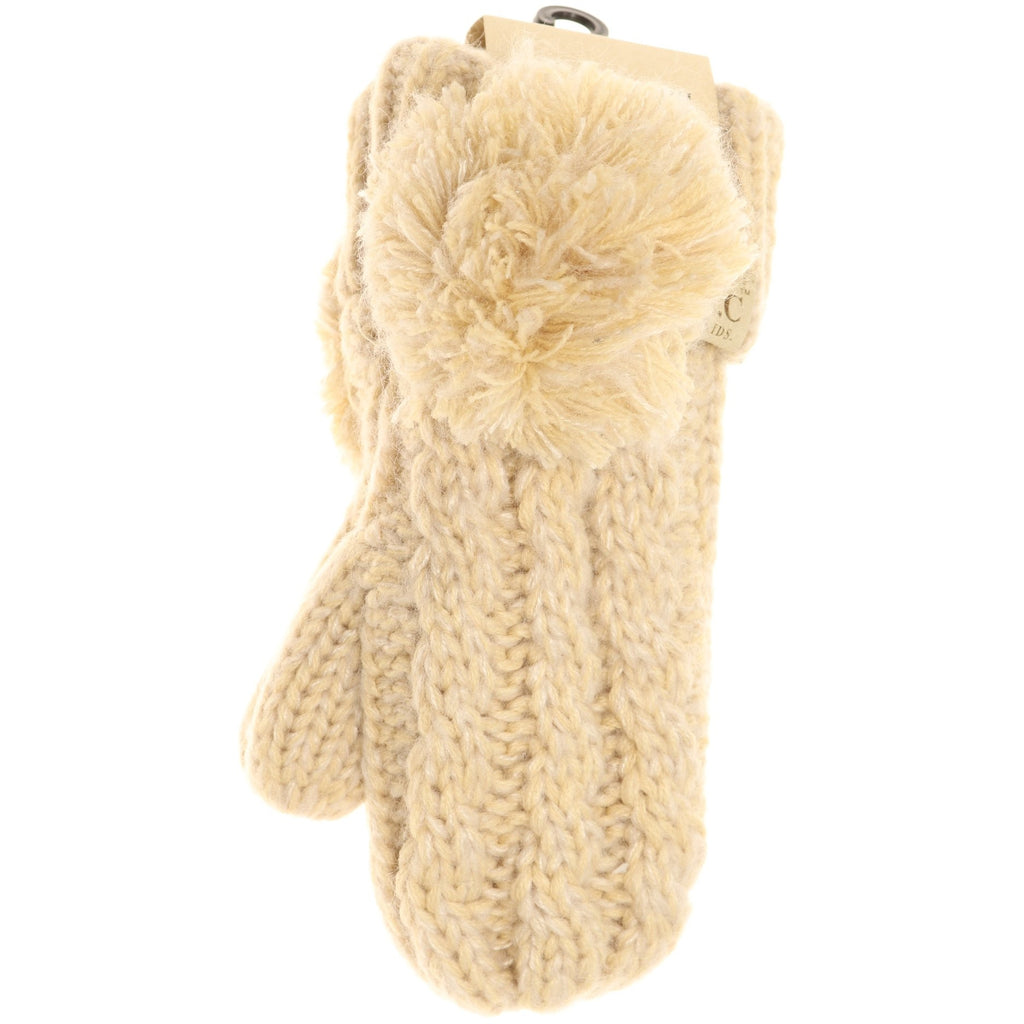 Kids CC Multi-Tone Double Pom Fuzzy Lined Mittens MT23KIDS