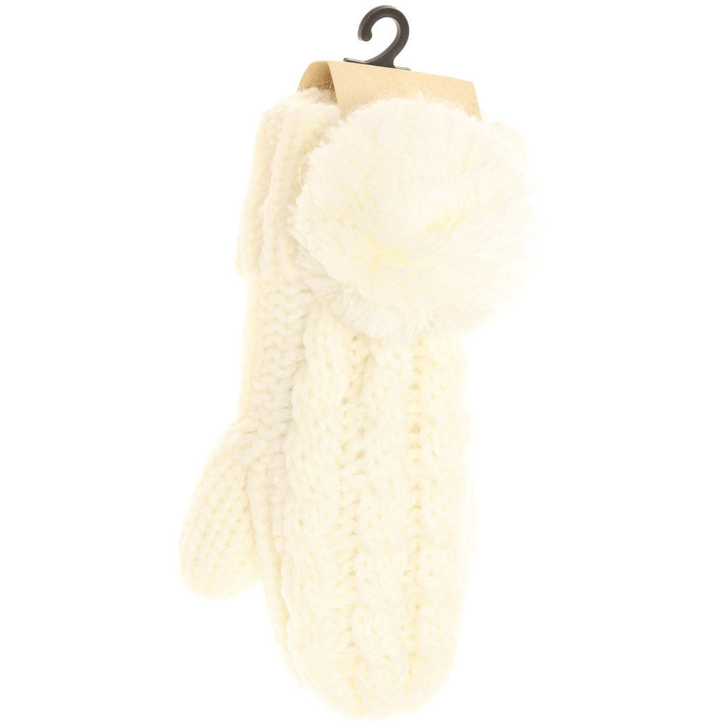 Kids CC Solid Pom Fuzzy Lined Mittens MT24KIDS