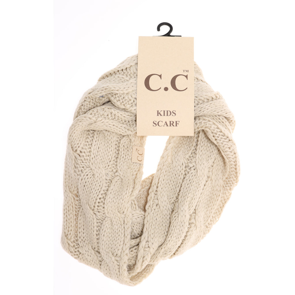 KIDS Solid Cable Knit CC Infinity Scarf SF800KIDS