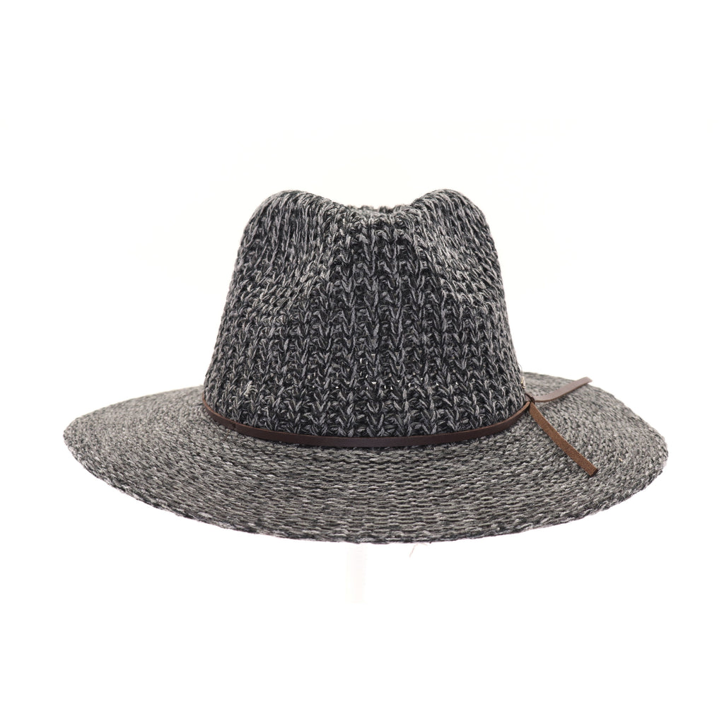 Knit Fedora Hat with Leather Cord KP007