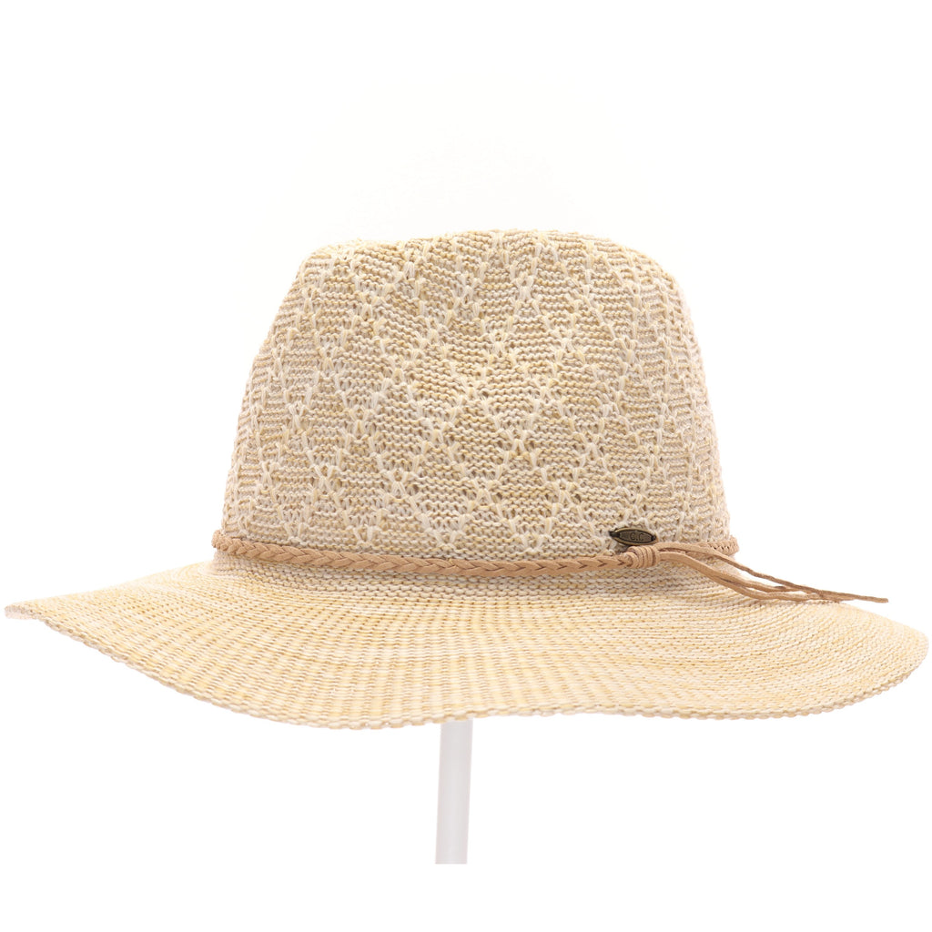 Knit Panama Hat with Suede Braided Cord KP009