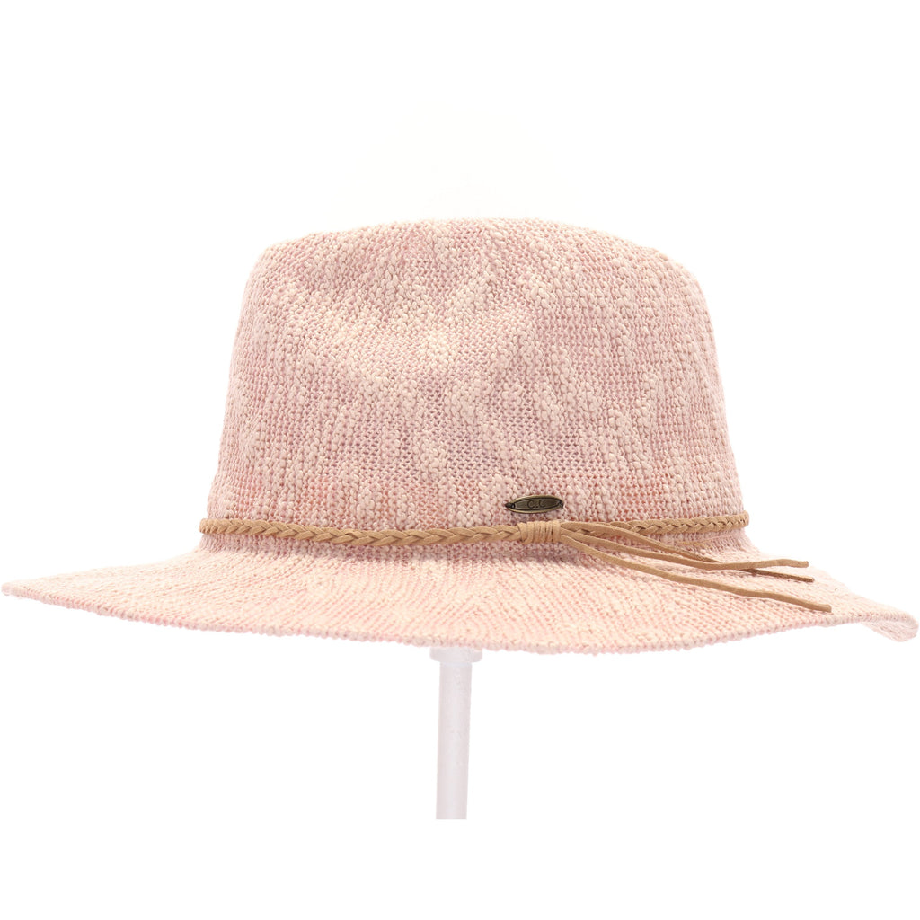 Knit Boucle Panama Hat with Suede Braided Cord KP010