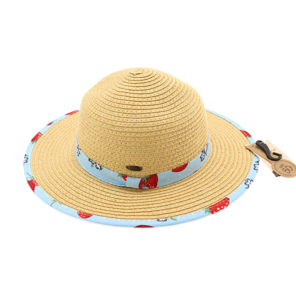 Kids Straw Brim Hat w/Strawberry Print KIDS2001