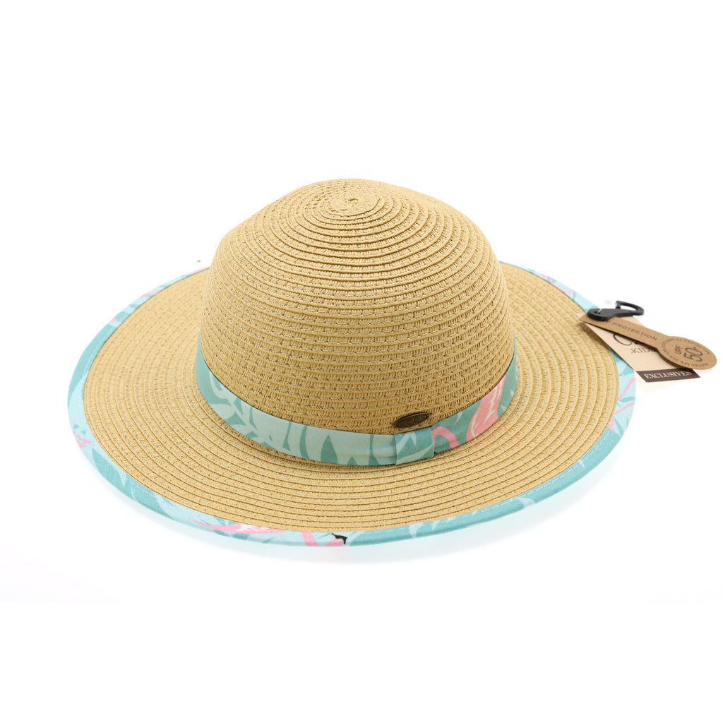 Kids Straw Brim Hat w/Flamingo Print KIDS2002
