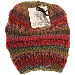 Multi Color Cable Knit CC Beanie Tail MB705