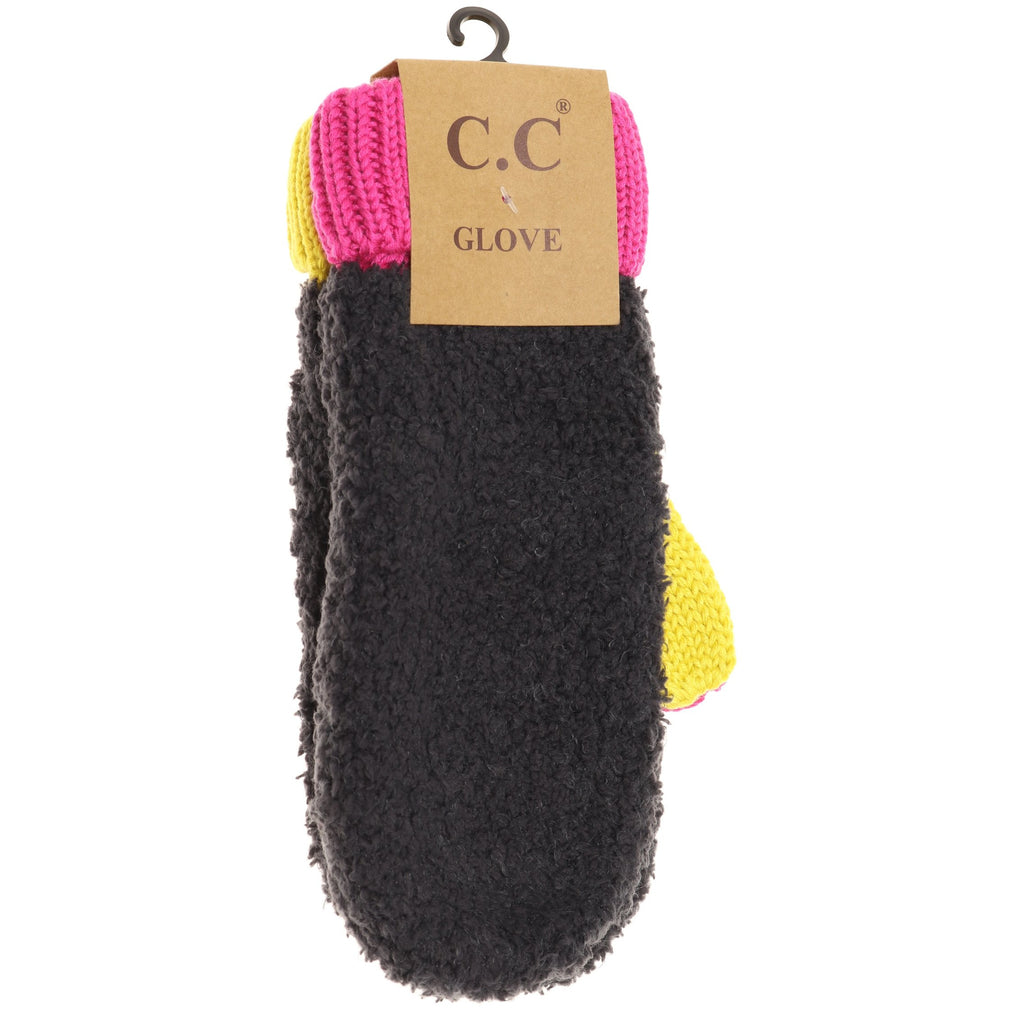 Color Block Sherpa Knit Mitten MT2069
