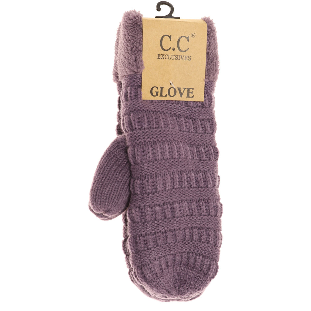 Solid Fuzzy Lined Mittens MT25