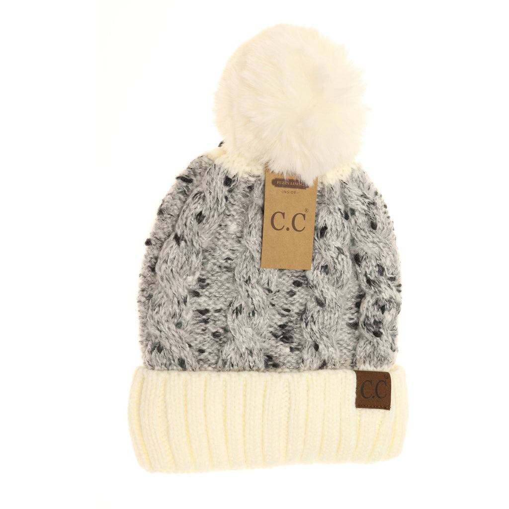 Confetti Cable Knit Faux Fur Pom Beanie HAT3621