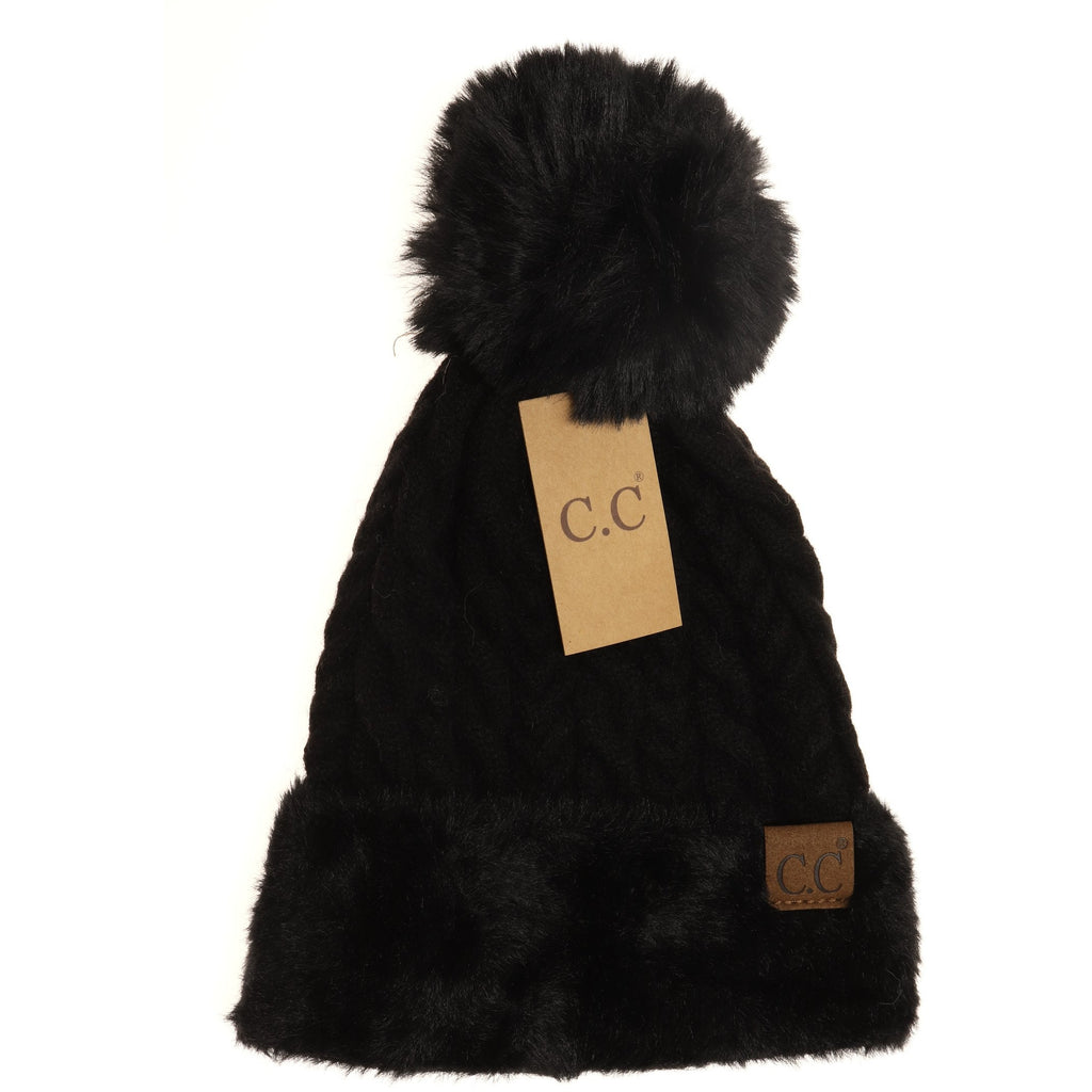 Cable Knit Faux Fur Pom and Cuff Beanie HAT3626