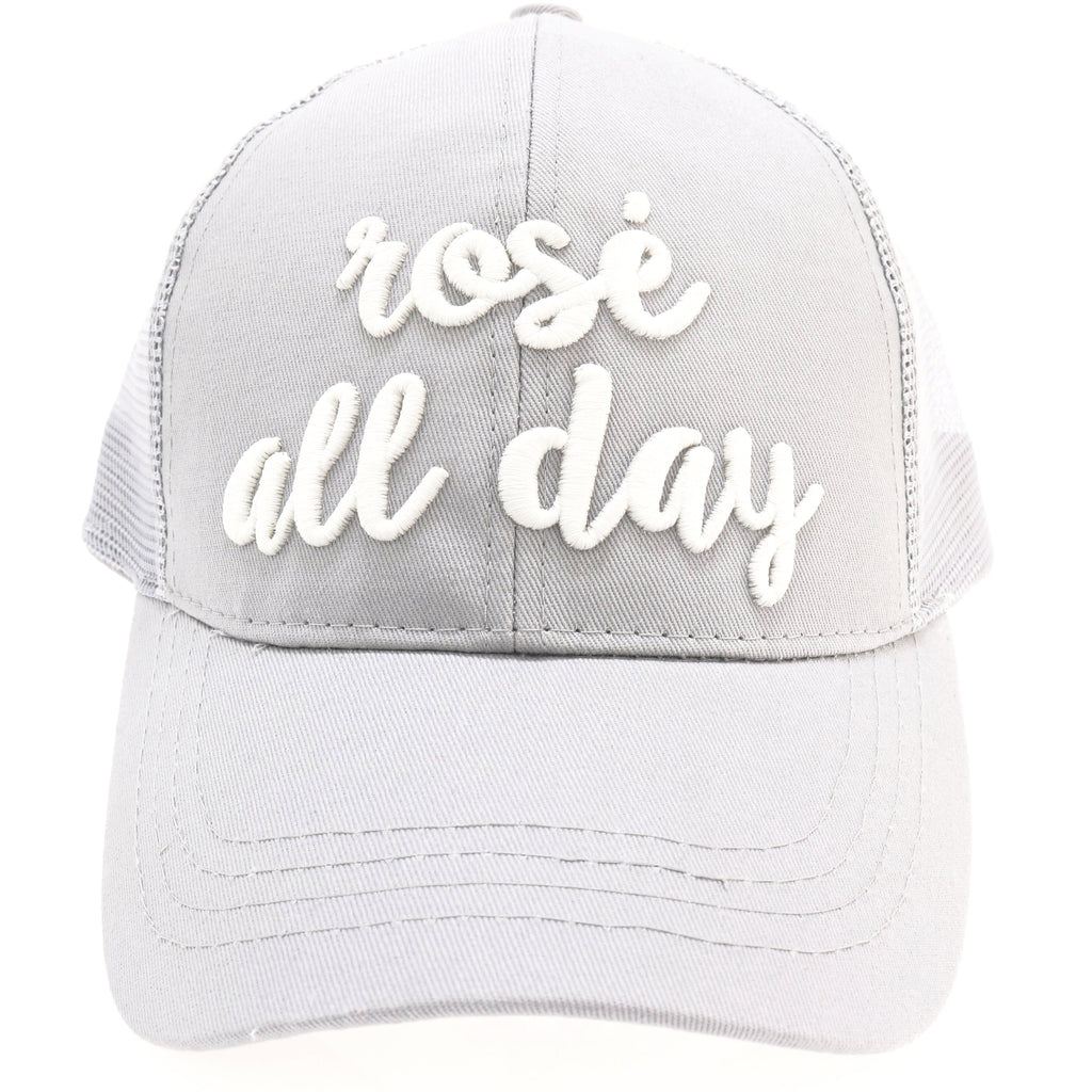 Rose All Day Embroidered High Ponytail CC Ball Cap BT-10-RAD