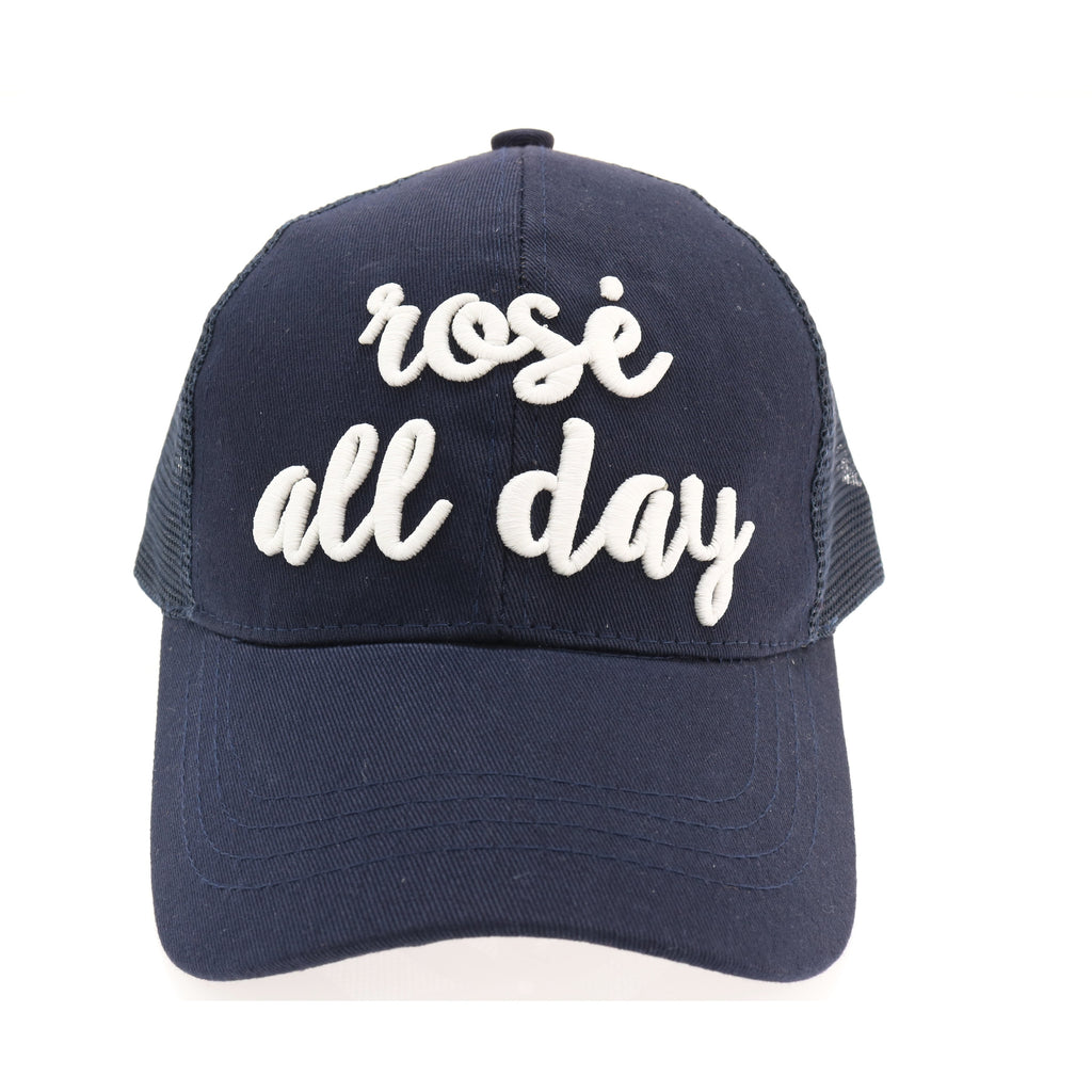 Rose All Day Embroidered High Ponytail CC Ball Cap