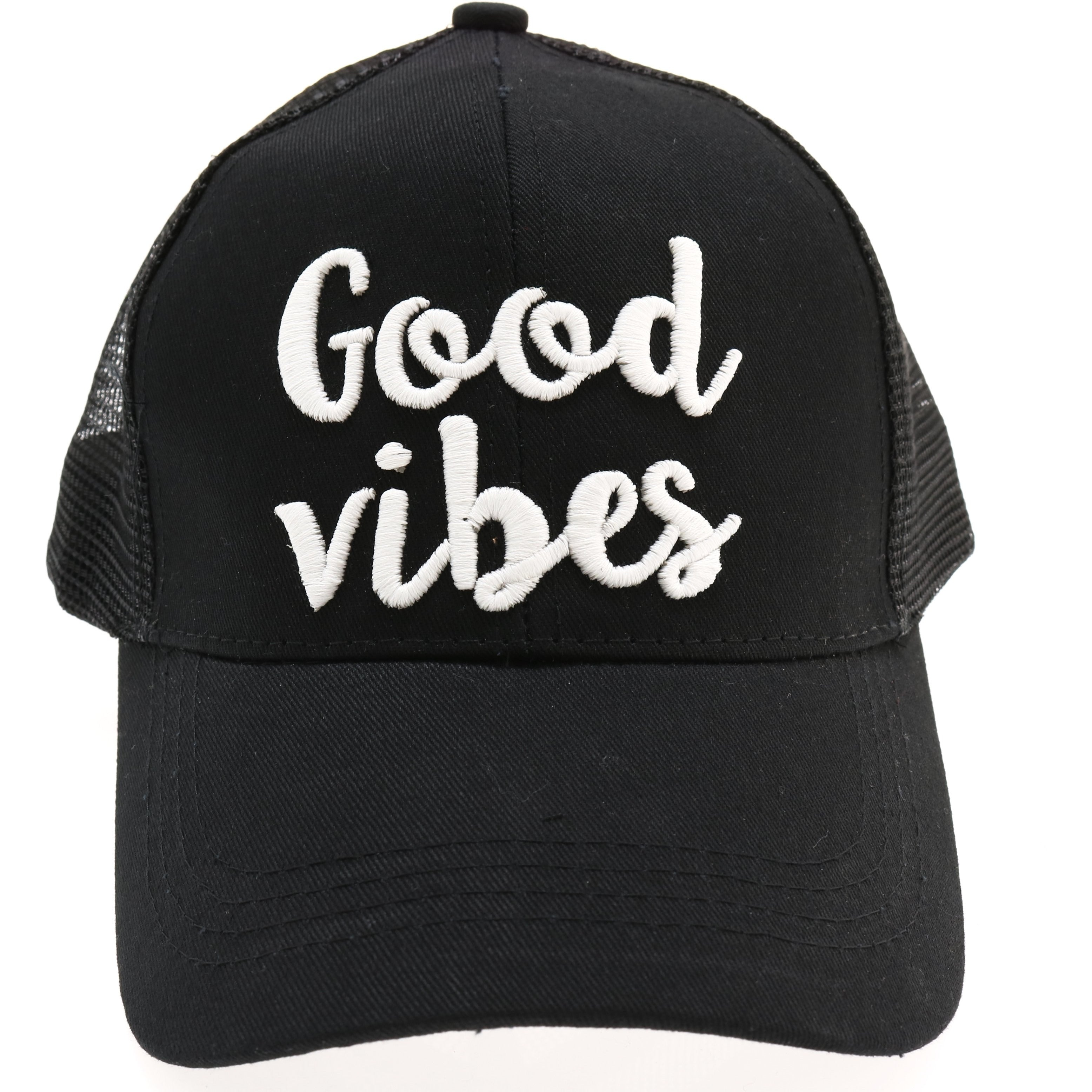 19bf1107a58 Good Vibes Embroidered Mesh Back High Ponytail CC Ball Cap BT-10-GV ...