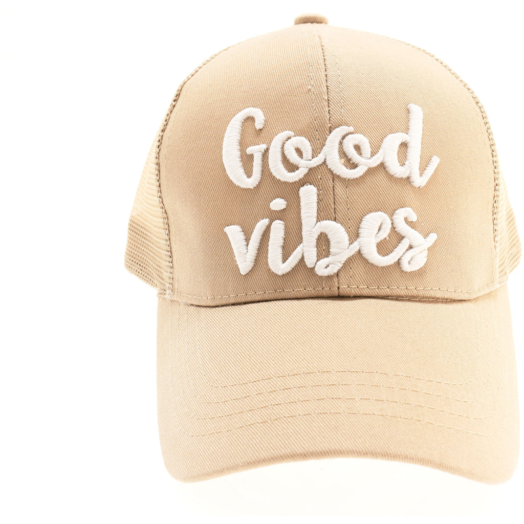 Good Vibes Embroidered Mesh Back High Ponytail CC Ball Cap