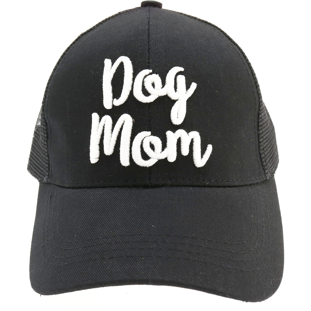 Dog Mom Embroidered Mesh Back High Ponytail CC Ball Cap