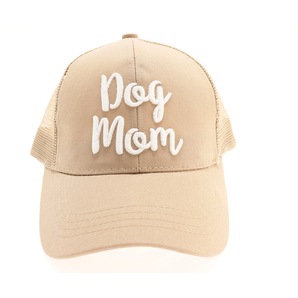 Dog Mom Embroidered Mesh Back High Ponytail CC Ball Cap BT-10-DM