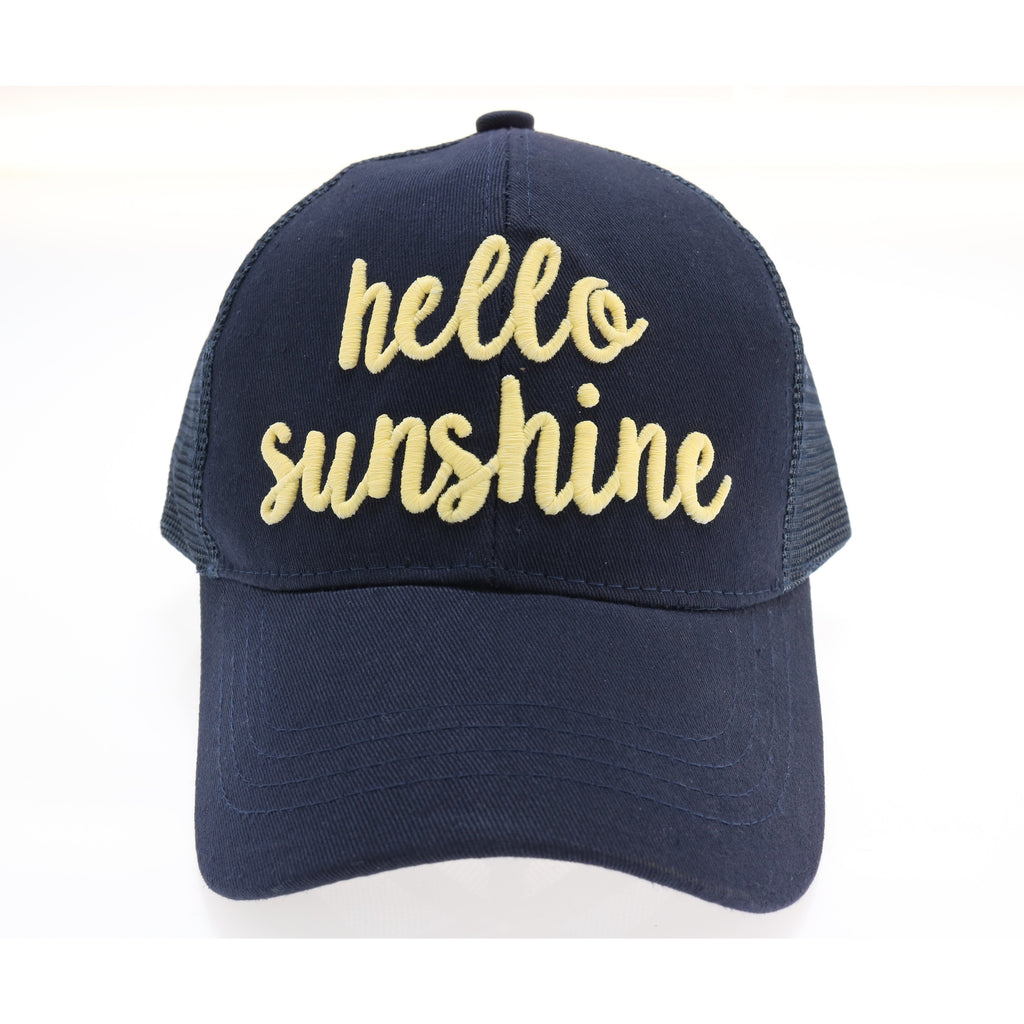 Hello Sunshine Embroidered Mesh Back High Ponytail CC Ball Cap