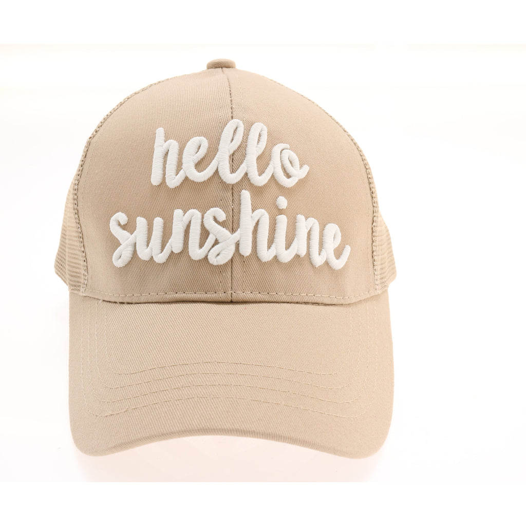 Hello Sunshine Embroidered Mesh Back High Ponytail CC Ball Cap BT-10-HS