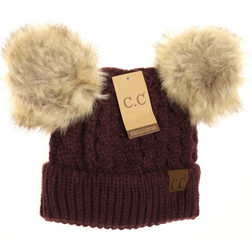 Cable Knit Double Pom Beanie HAT2055