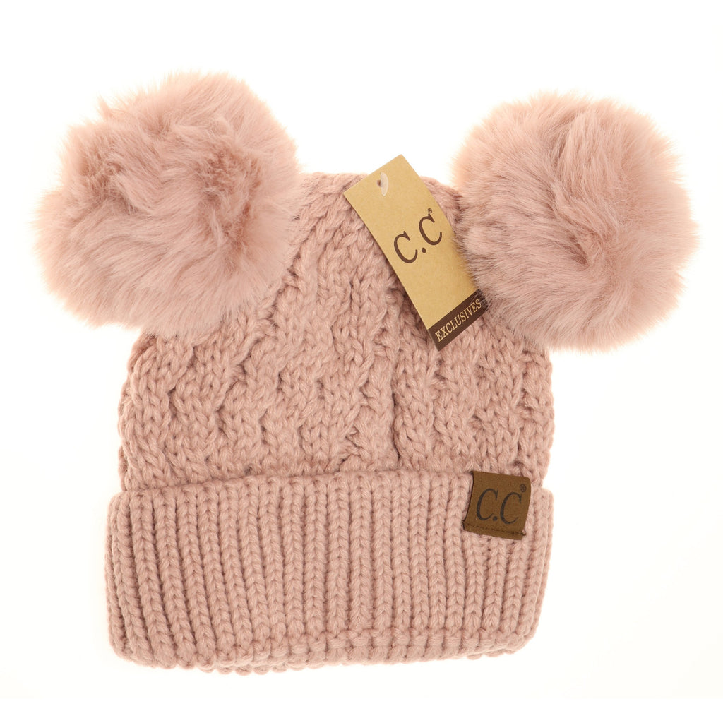 Cable Knit Double Matching Pom Beanie HAT2055-S