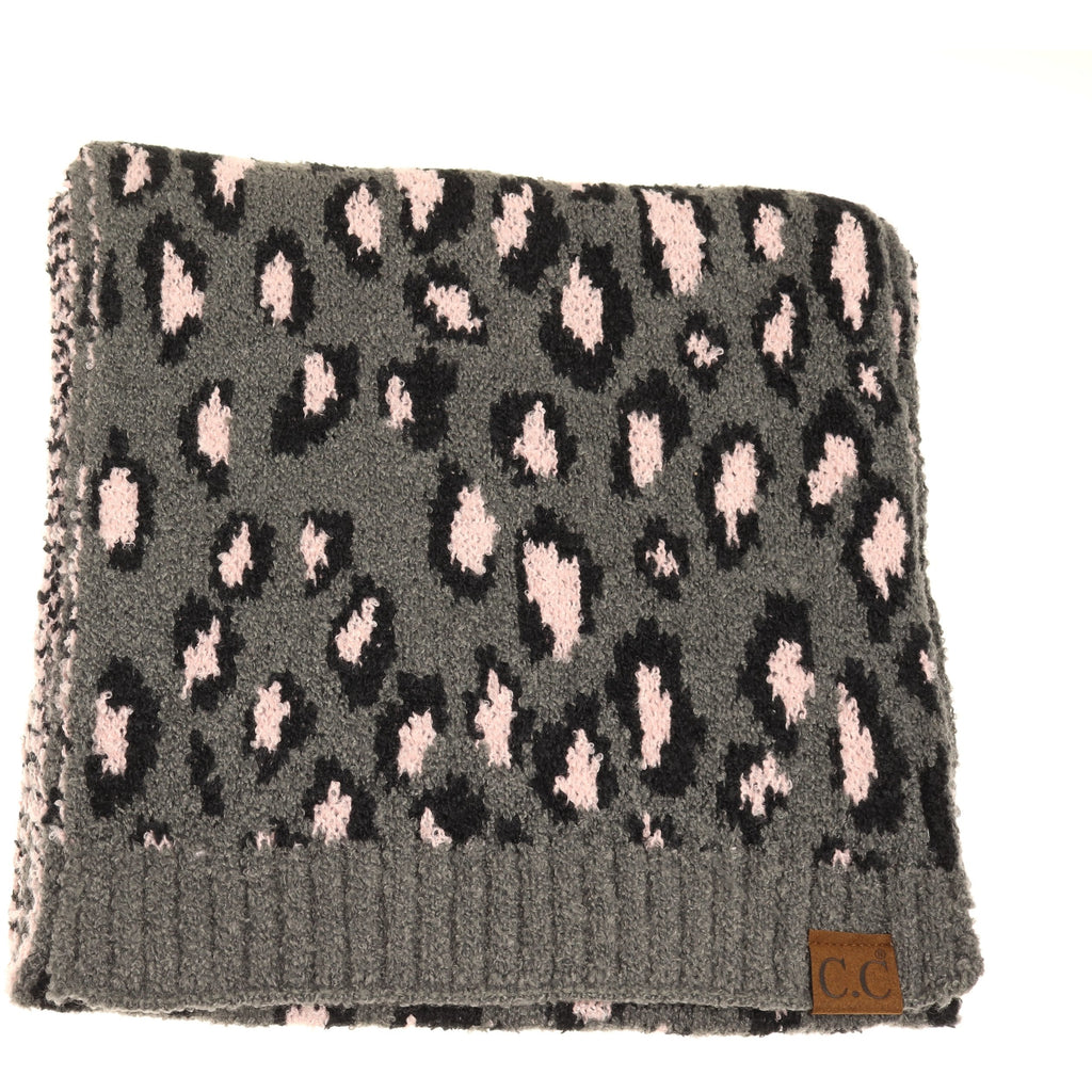 Leopard Boucle Knit Scarf SF7001