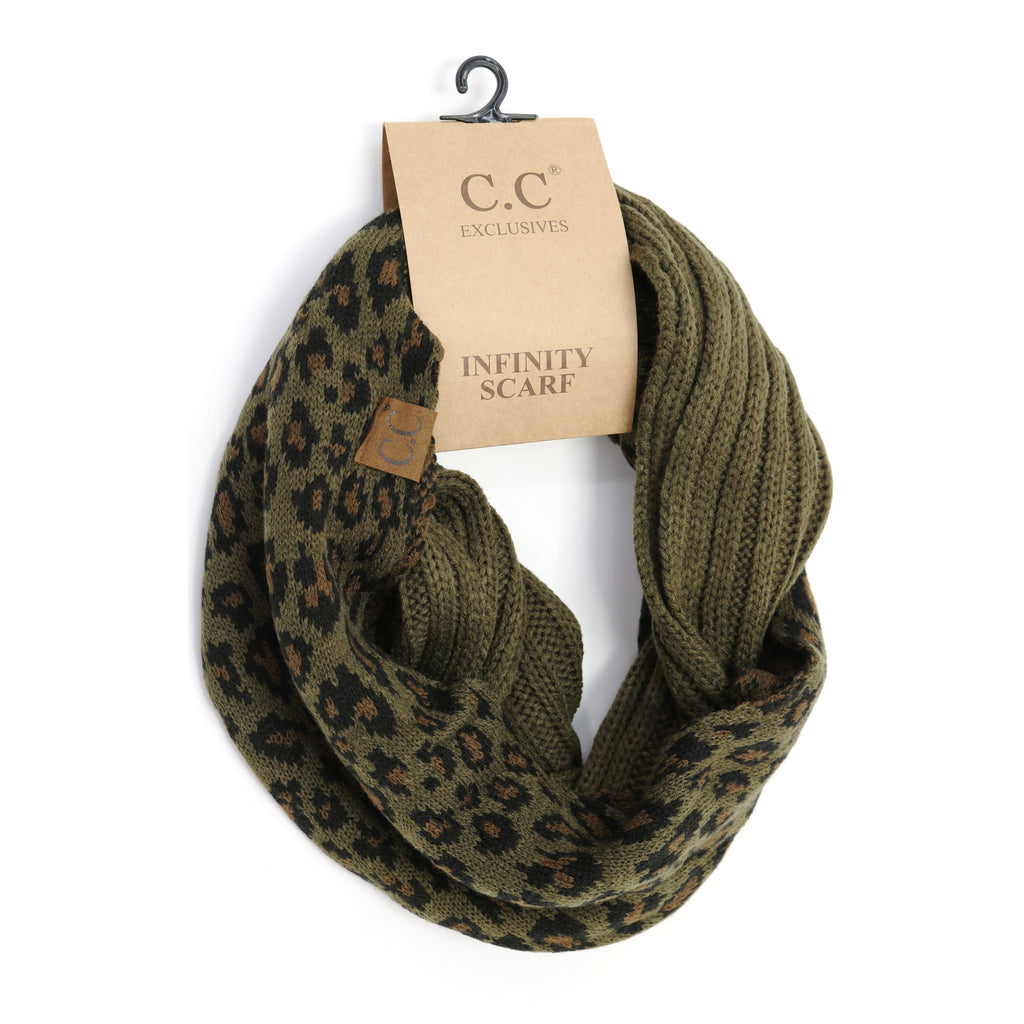 Ribbed Knit Leopard Accent CC Infinity Scarf SF80