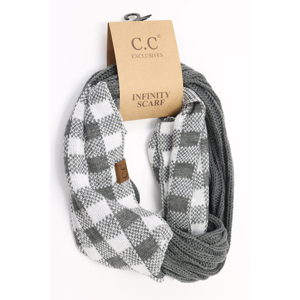 Buffalo Check Knit Scarf SF82