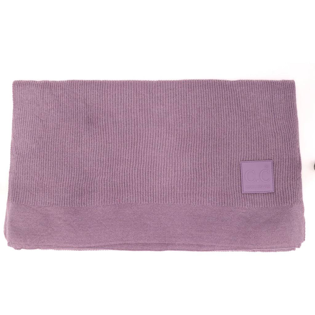 Solid Ribbed Knit CC Scarf with Rubber Patch SF7007