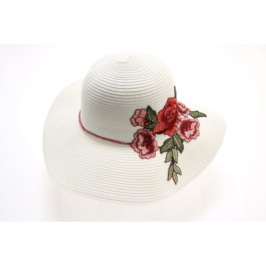 Braided Straw Hat with Rose Embroidery ST2018
