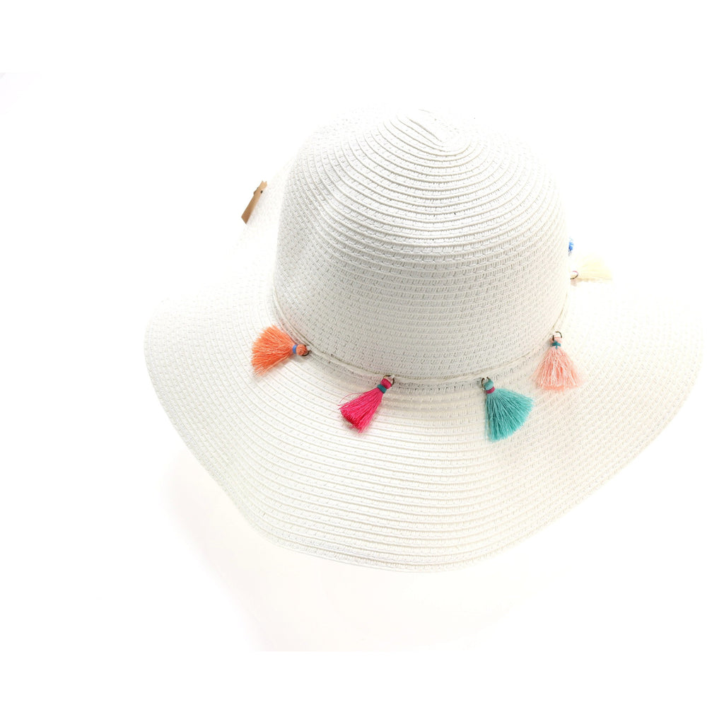 Braided Straw Hat with Tassel Accent ST2019