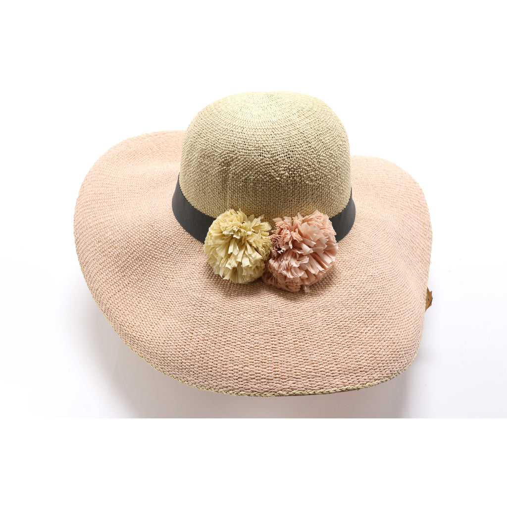 Big Colored Brim Straw Hat with Pom Accent ST2020