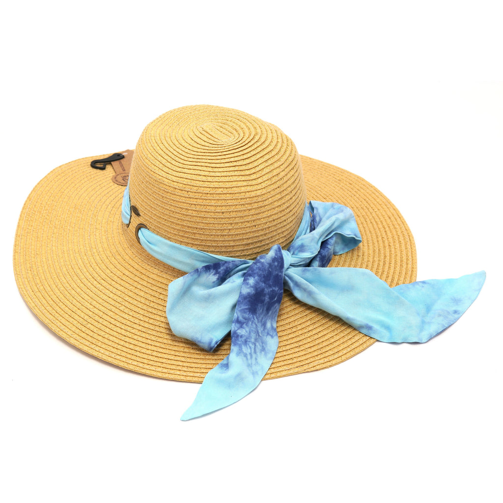 Wide Brim Floppy Sun Hat with Tie Dye Sash ST2026