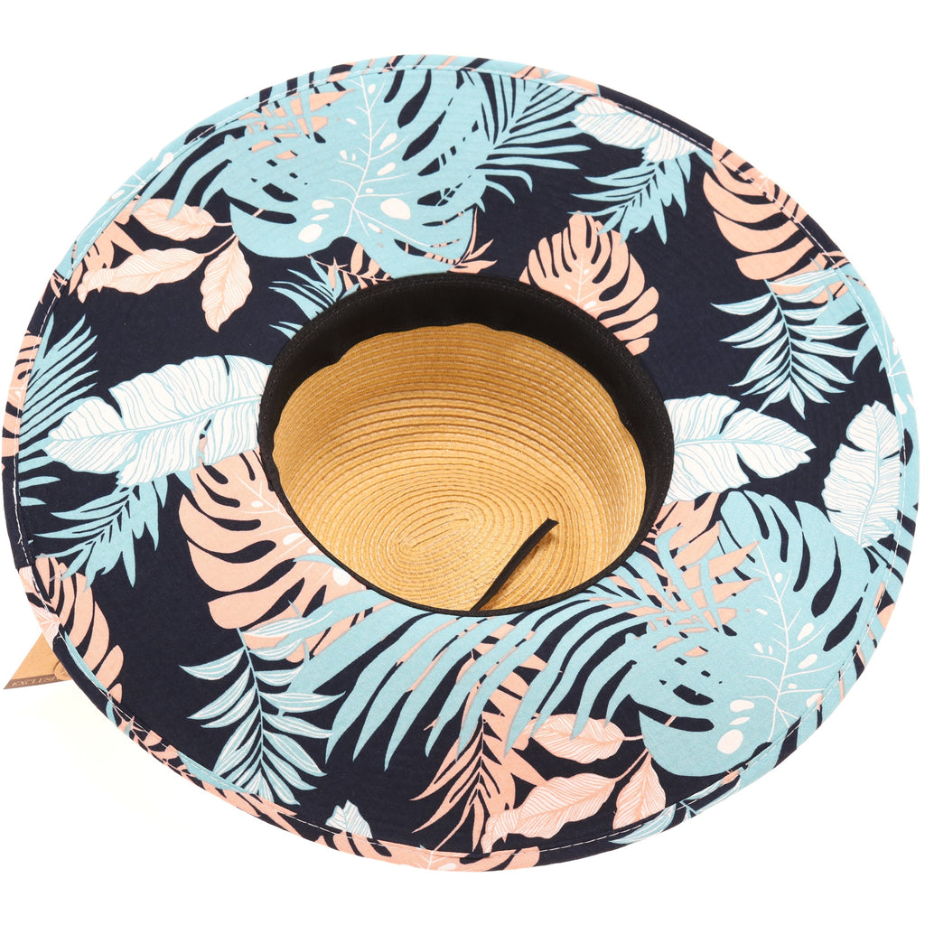 Straw Brim Hat w/Tropical Print ST3005