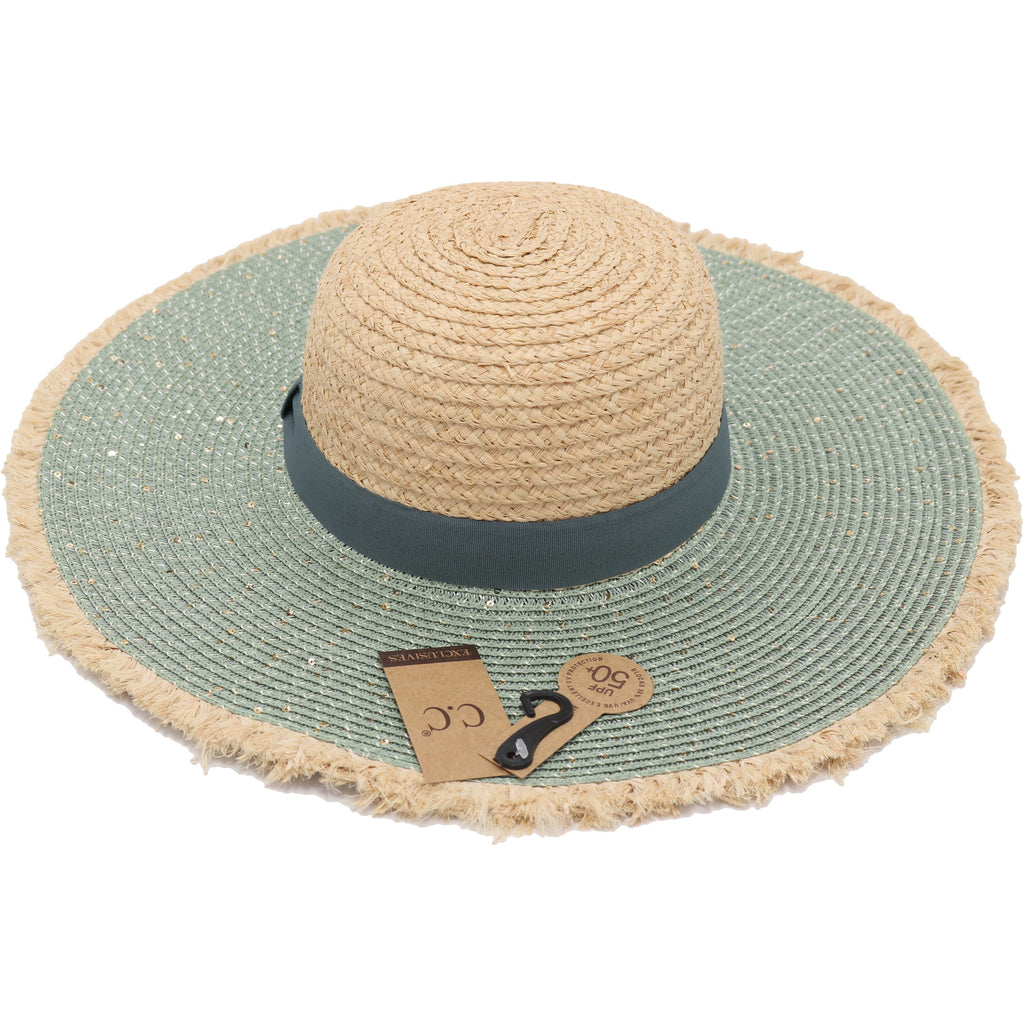Sequined Raffia Floppy Sun Hat with Frayed Edge ST3010