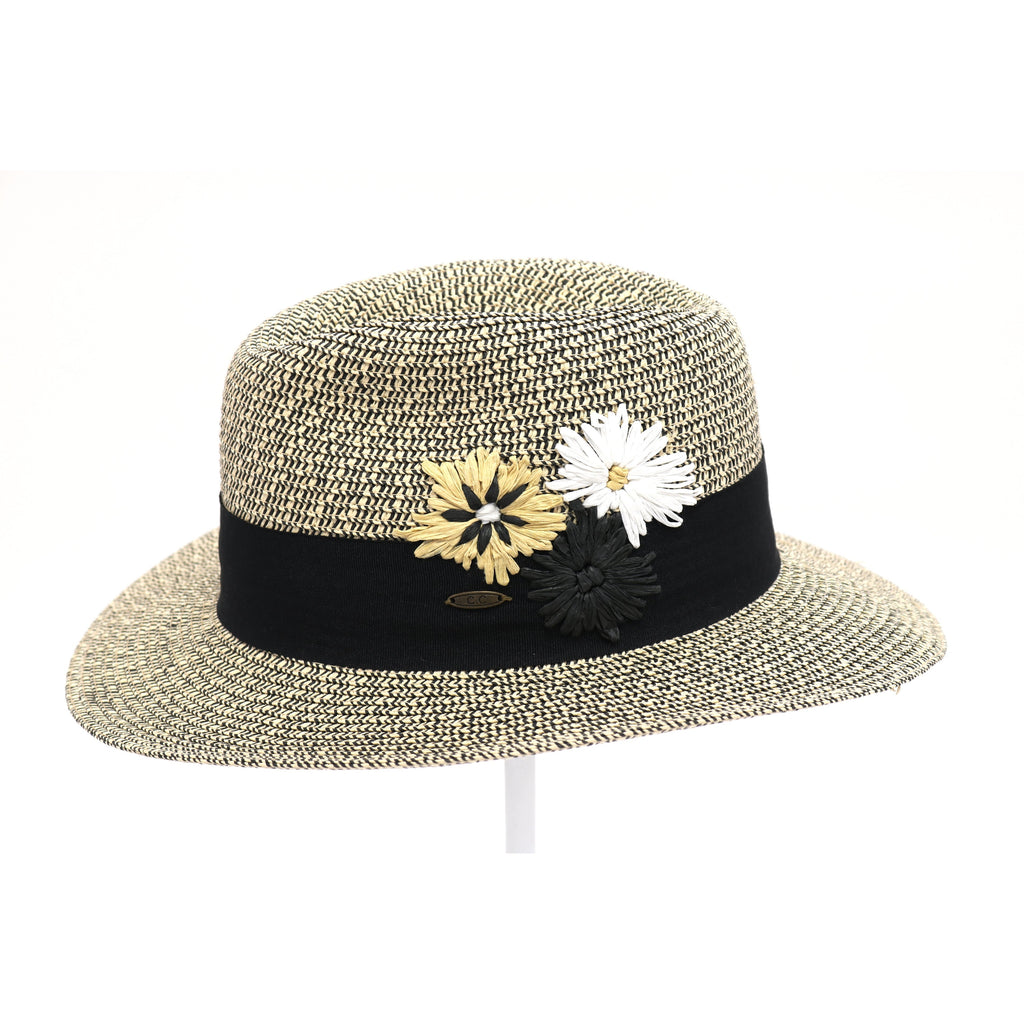 Floral Embroidery Heather Panama Hat ST3021