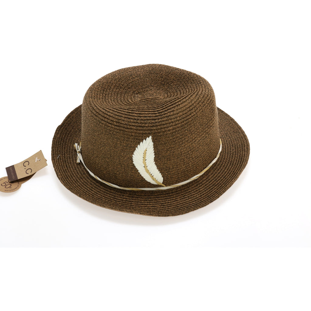 Braided Fedora Hat with Embroidered Feather ST520