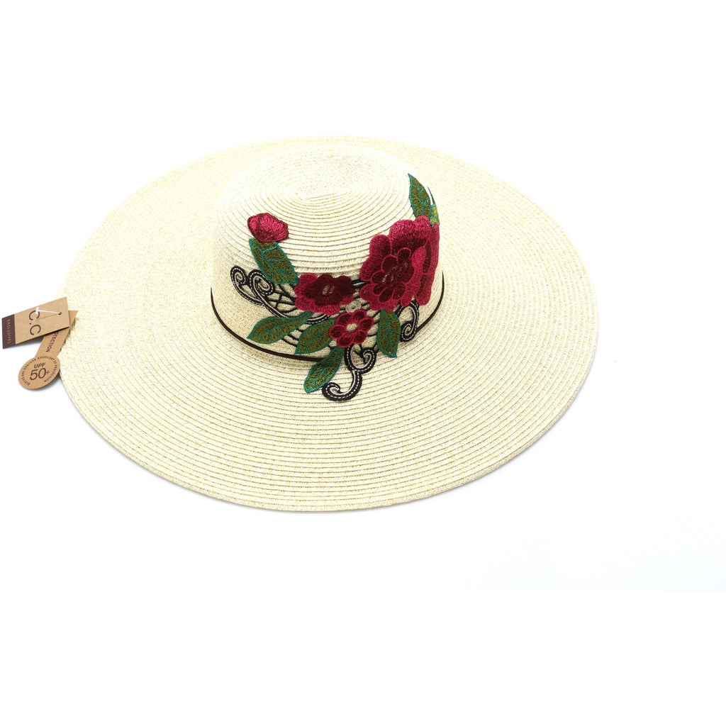 Braided Hat with Flower Embroidery ST700