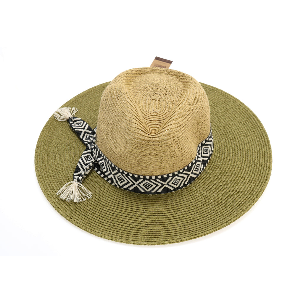 Braided Hat with Tribal Band Accent ST702
