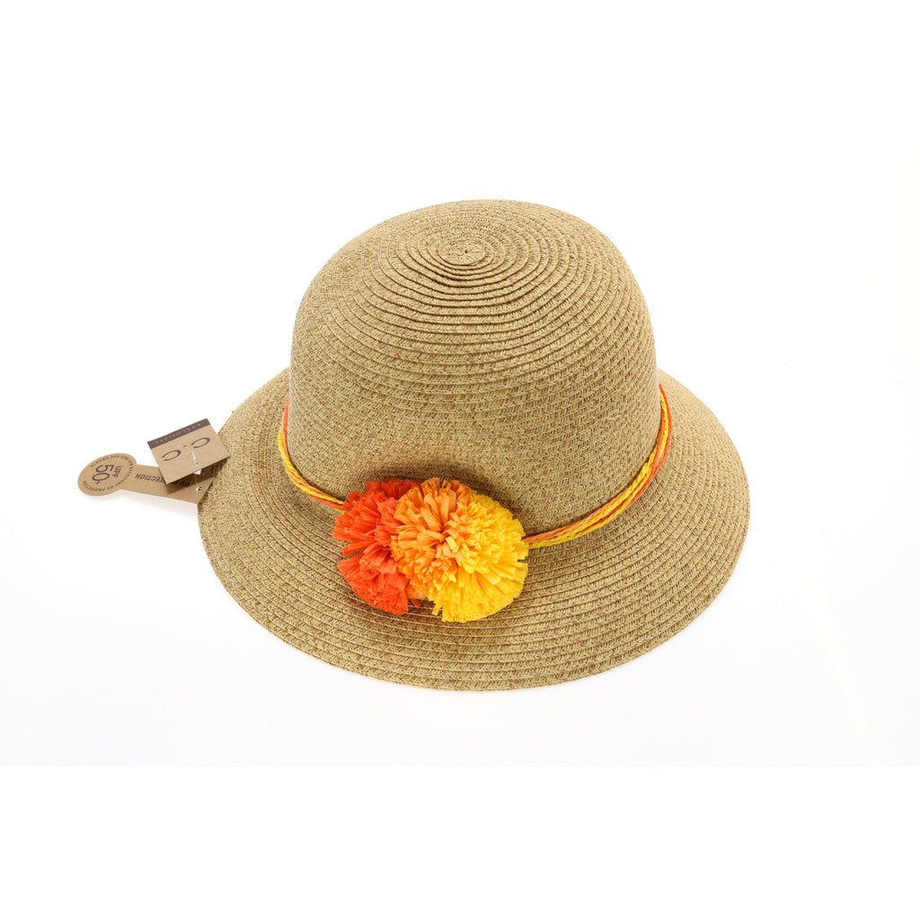 Braided Hat with Triple Paper Flower ST712