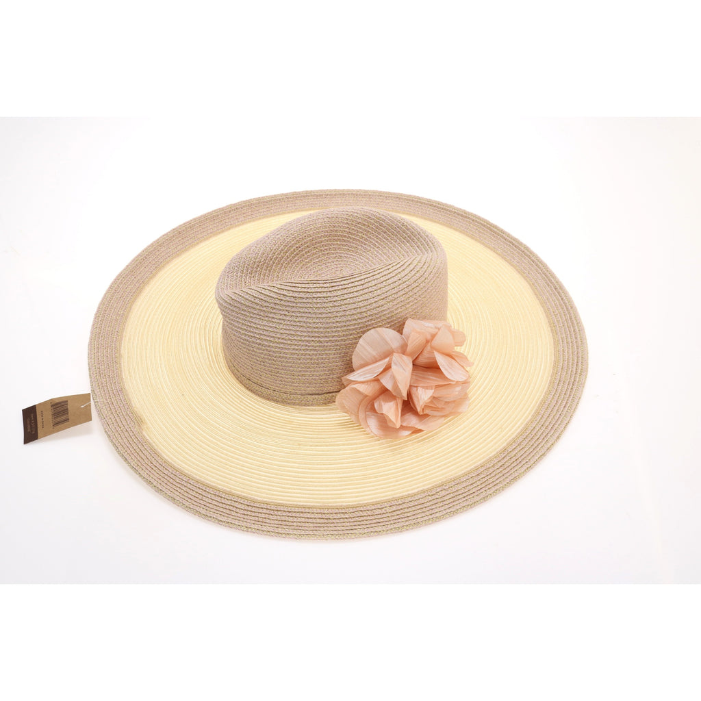 Braided Two Tone Hat with Rose ST716
