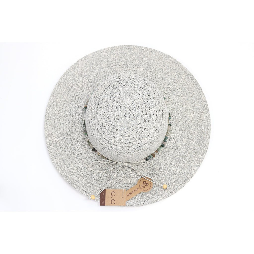 Paper Straw Sun Hat with Stone Band Accent ST813