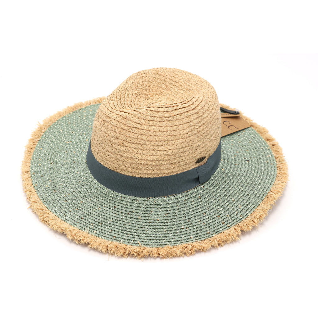 Sequined Raffia Panama Hat with Frayed Edge ST900