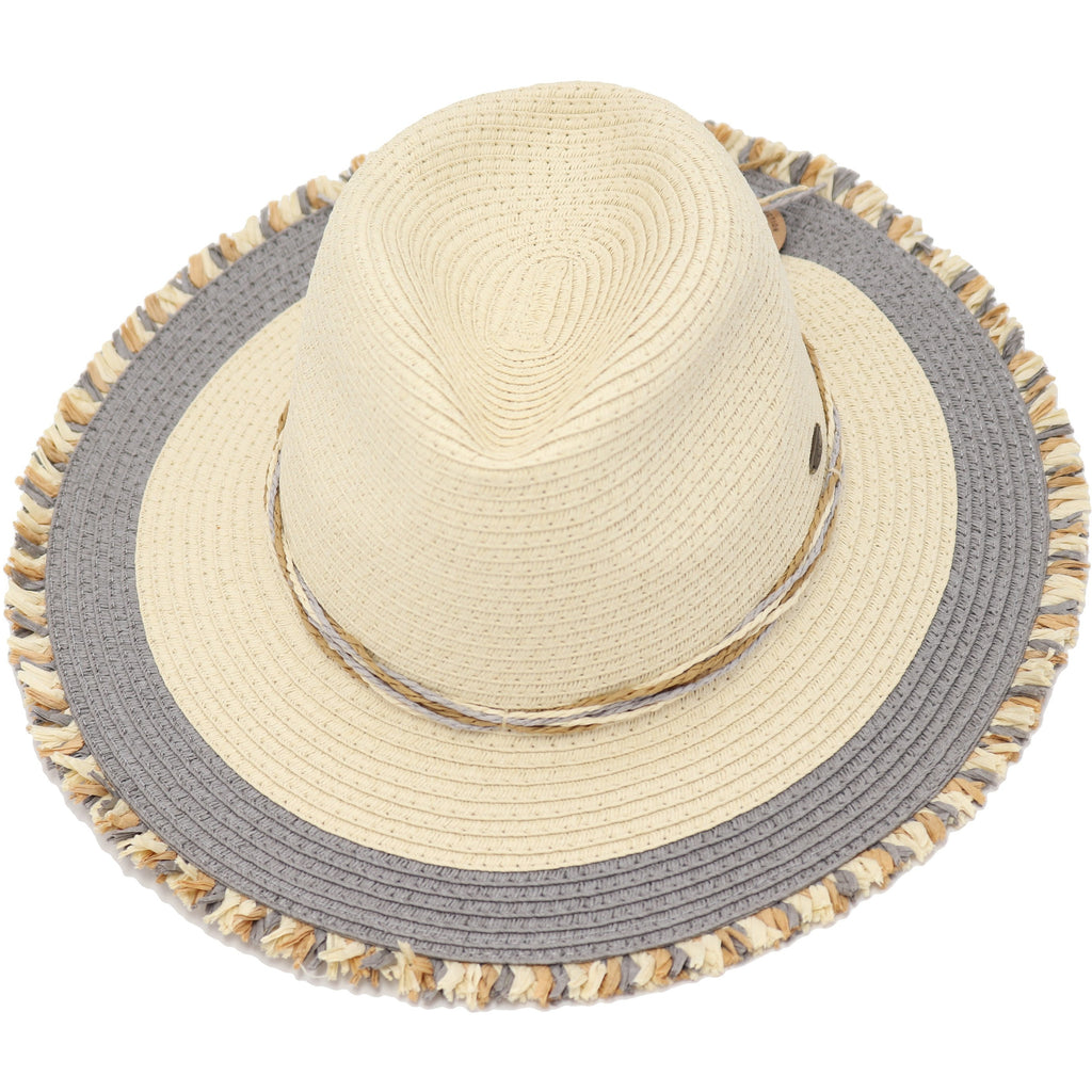 Multi-Color Fringed Panama Hat ST901