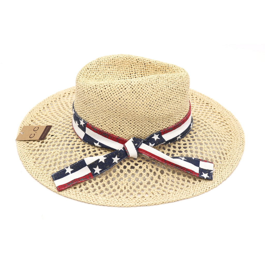American Flag Band Trim Panama Hat ST905