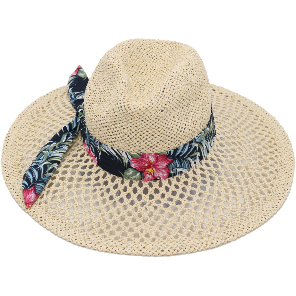 Tropical Floral Print Band Trim Panama Hat ST906