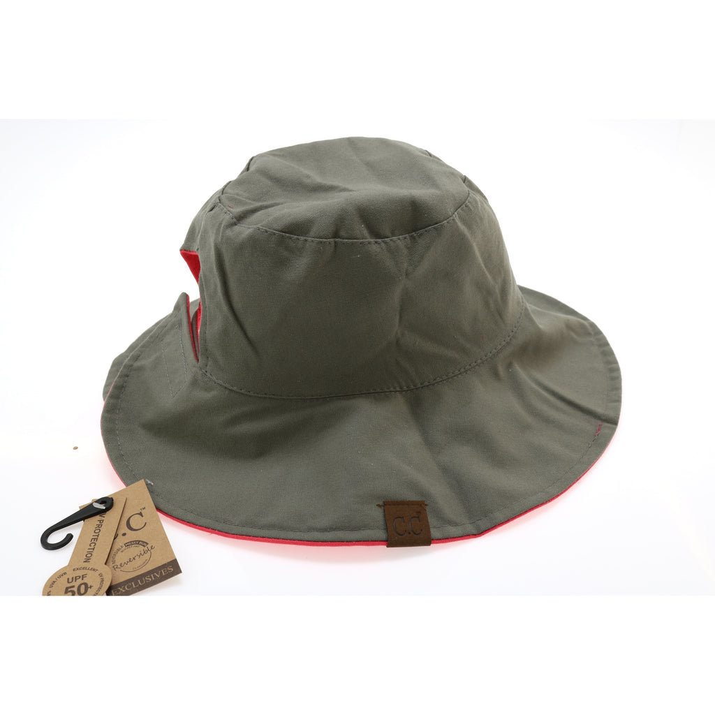 Solid Reversible Ponytail Bucket Hat ST2224