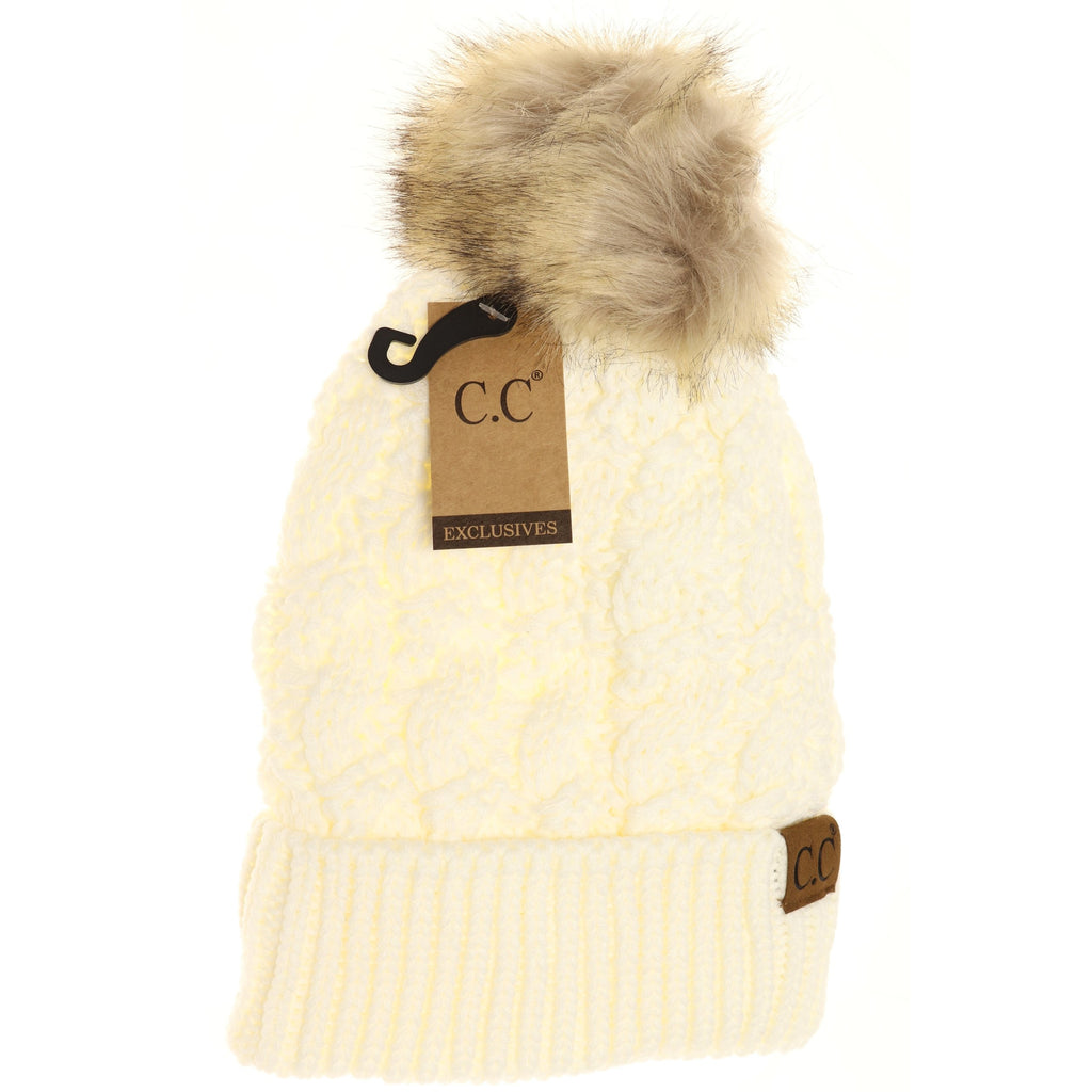 Ribbed Cable Knit Fur Pom Beanie YJ2021