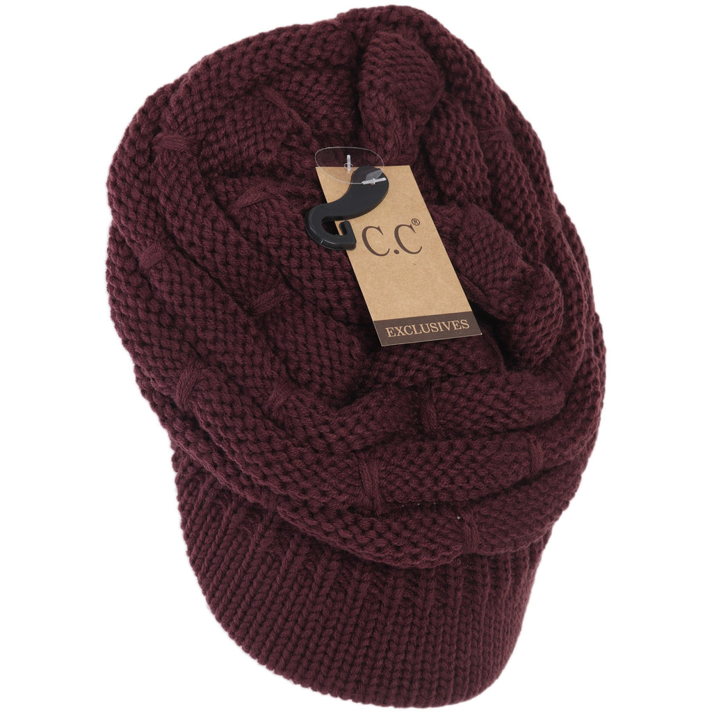 Ribbed Knit Hat with Brim YJ2023